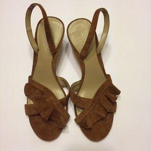 Ann Taylor Dinah Ruffle Kitten Heel Brown Suede